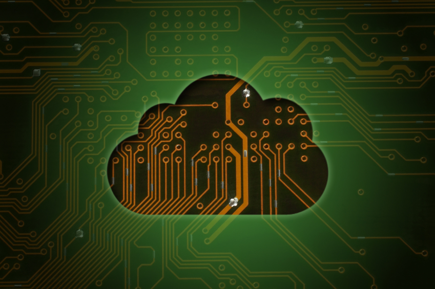 Cloud on circuit background, cloud computing concept